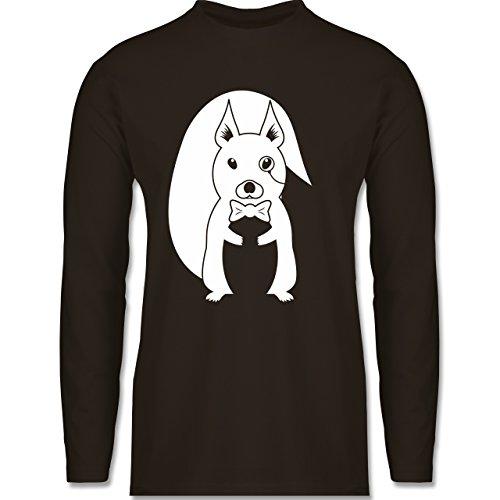Hipster - Hipster Eichhörnchen - Longsleeve / langärmeliges T-Shirt für Herren Braun