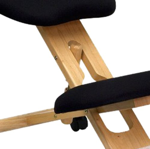 Flash Furniture WL-SB-210-GG Mobile Wooden Ergonomic Kneeling Chair in Black Fabric