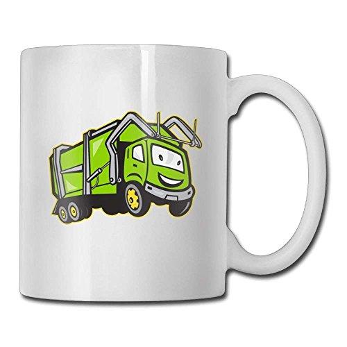 Nisdsgd Funny Garbage Truck Coffee Mugs 11 Oz Ceramic Tea Cup for Family and Friend 3.14W x 3.74H(8x9.5cm) 16 Oz Tall Iced Tea