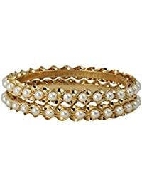 Radha's Creations Pearl One Gram Gold Plated Pair Of Bangles For Women And Girls