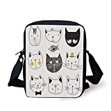 Cat,Stylish Cats with Moustache Bow Tie Hat Crown Fluffy and Fish Humor Faces Graphic,Yellow Grey Print Kids Crossbody Messenger Bag Purse