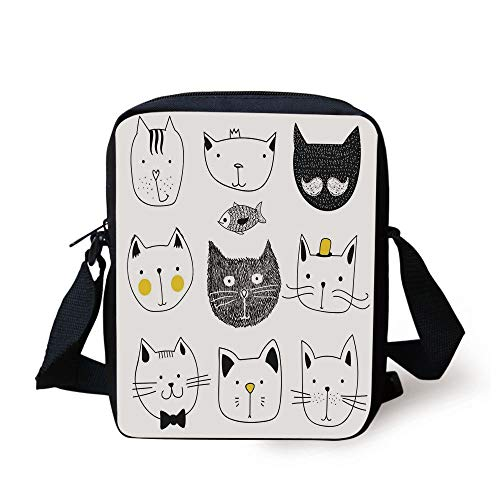 Cat,Stylish Cats with Moustache Bow Tie Hat Crown Fluffy and Fish Humor Faces Graphic,Yellow Grey Print Kids Crossbody Messenger Bag Purse (Bulk Bow Ties)