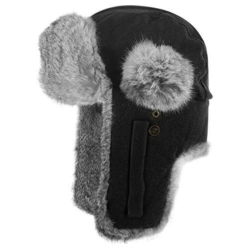 Stetson Hatfield Fliegermütze für Damen Herren Lapeer by mit Futter, Klettverschluss, Klettverschluss Winter (L (58-59 cm) - schwarz)