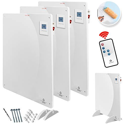 KESSER® 3x Infrarotheizung 425 Watt mit Fernbedienung ✓ LCD-Display Digital ✓ Timer ✓ Wandheizung ✓ Infrarot ✓ Heizung ✓ Heizkörper | Heizpaneel | Inkl.Standfüßen NEU |