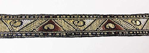 Vintage indisches Sari Jacquard Band Bordüre - Gold, Silber und Kupfer metallische Farben zum Nähen Quilten Renaissance Dance Hawaiian Brautkostüme Drapery Home Decor - Value 5 Yards (Crazy Dance Kostüm)