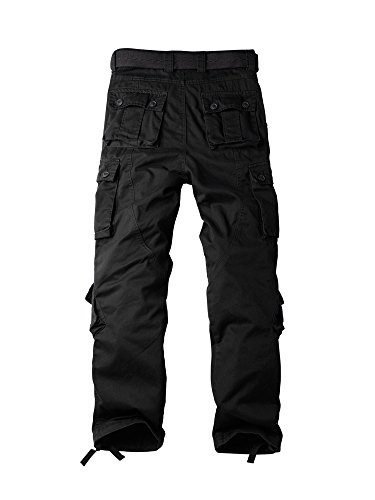 OCHENTA Herren Freizeithose Wasserwäsche Cargohose mehrere Tasche aus Baumwolle Loose-Fit #3357 Noir