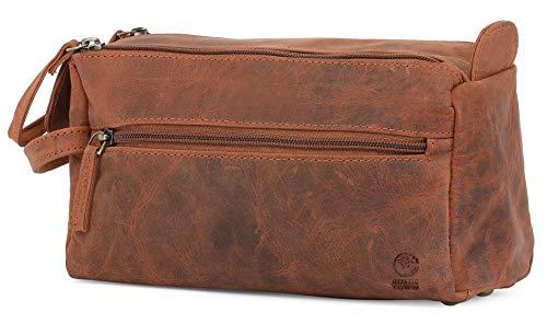 Rustic Town kulturtasche kulturbeutel Mann | Leather Toiletry Bag | Leder Kosmetiktasche Waschtasche Reise-Tasche für Herren (Braun) -
