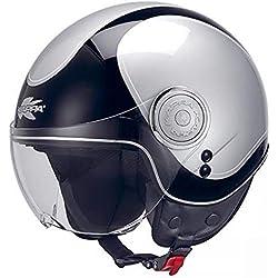 Casque demi-jet taille petite passager enfant femme scooter ville vespa sh custom avec visière homologuée moto XS Nero grigio