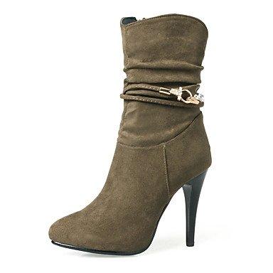 SANMULYH Scarpe Donna Autunno Inverno La Moda Stivali Stivali Bootie Stiletto Heel Round Toe Stivaletti/Stivaletti Stivali Mid-Calf Side-Draped Kaki
