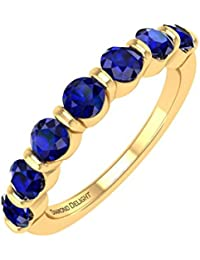 18K Gold Blau Saphir HOCHZEIT Band Ring (1,00Karat)