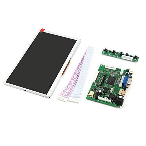 7 Zoll Raspberry Pi Digital Display LCD-TFT-Schirm-Anzeigen-Modul HDMI + VGA + Video-Treiberplatine für Raspberry Pi (Silber) -