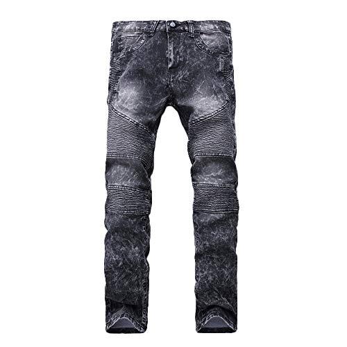 Plissee Denim Pant (Herren-Jeanshosen, Mode Männer Skinny Stretch Denim Pants Plissee Ripped Freyed Slim Fit Jeans Hose)