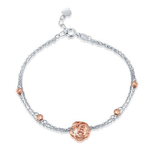 Pulsera de hojaldre rosa y cuentas con diseño de doble cadena en oro blanco