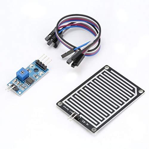 LouiseEvel215 5 V LED Regensensor Regentropfen Wassererkennung Feuchte Modul Kit für Arduino Weather Detector Monitor mit Kabel Voltage Detector Kit