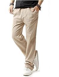 53431075fb Minetom Hombres Casual Pantalones De Playa Lino Mezclilla Verano Largo  Pantalón Con Bolsillos