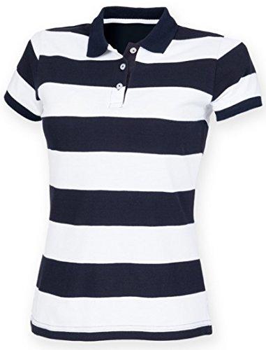 Front Row Frauen Short Sleeve gestreift Pique Polo Shirt Gr. Small, Marineblau/weiß
