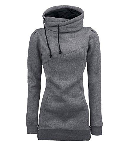 iMELY Damen Kaputzenpullover Hoodie Pullover Frühling Herbst Sweatshirt Langärmelig Kaputzen Outerwear, Grau, Gr. M