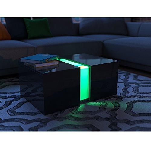 Couchtisch LED Schwarz Hochglanz - Loungetisch Wohnzimmer Tisch Sofa Couch modern - edles Acryl Dekor - RGB Farben - inkl. Fernbedienung