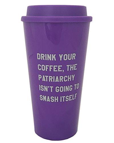 Get Bullish Tomar el café, el patriarcado no se va a romper en sí taza de viaje de color morado con letras de color gris paloma Púrpura