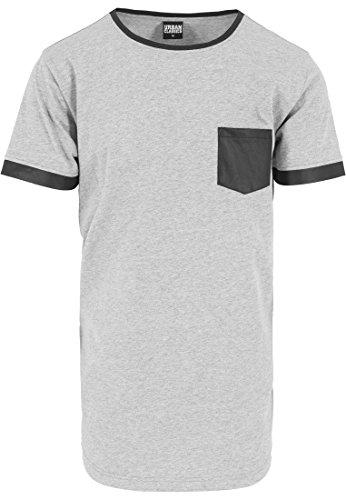 URBAN CLASSICS - Long Shaped Leather Imitation Tee (grey-black) Grey-Black