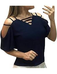 Blusas para Mujer Elegantes Tallas Grandes Casual Cuello en V Hombro Frío Gasa Manga Corta Camisetas Mujer Verano Tops Mujer Sexy Holatee