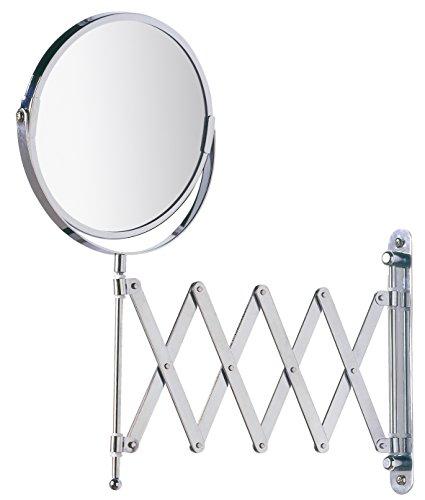 Wenko 15165100 Kosmetik-Wandspiegel Teleskop Exclusiv , Spiegelfläche ø 16cm, 300% Vergrößerung, Stahl, 19 x 38.5 x 50 cm, Chrom