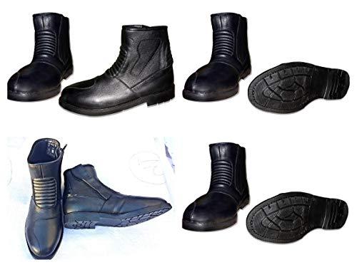 Pro First MB - Stivali da Motociclista, da Uomo, in Pelle, Impermeabili, Colore: Nero