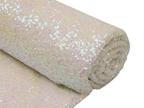 ter Changed White Shiny Fabric Sequin Fabric for DIY Changed White Party Dress Fabric C0613T ()