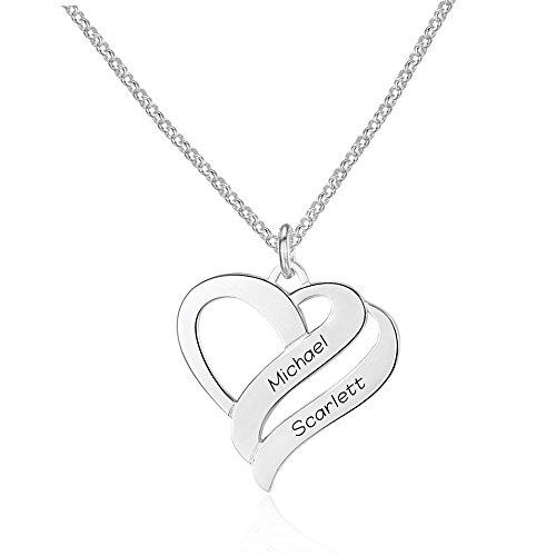 Individuelle Herz Namenskette 925 Sterling Silber mit zwei Wunschname(zu gravieren), Herzanhänger