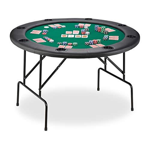 Relaxdays Pokertisch, klappbarer Spieltisch für Poker, Black Jack und Roulette, Casino Tisch, Filz, rund, Ø 120 cm, grün