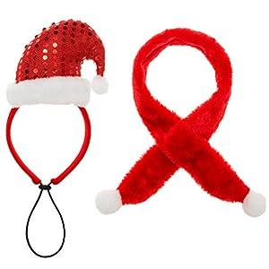 SCENEREAL CO. Ensemble de Bandeau de Noël pour Chien Echarpe Costumes Wearable Accessoire