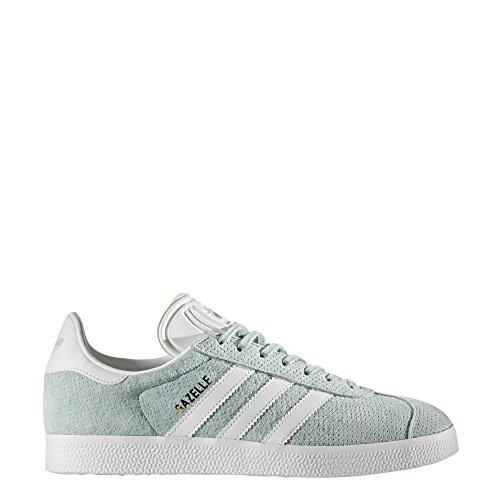 adidas Originals Women's Gazelle W Sneaker, Tactile Green/White/Gold Metallic, 9 M US