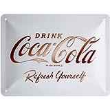 Nostalgic-Art Cartel de Chapa Retro Coca-Cola – Logo White – Idea de Regalo Aficionados a la Coke, metálico, Diseño Vintage D