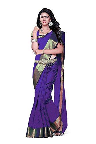 BuyOnn Sarees For Women Latest Design Purple Color Cotton Silk Sarees New...