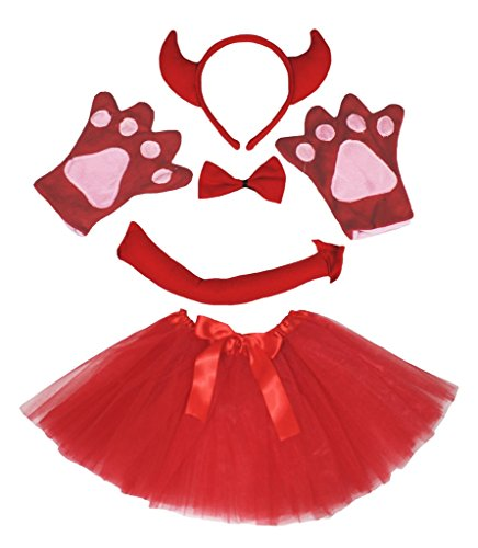 Petitebelle Red Devil Headband Bowtie Tail Gloves Tutu 5pc Costume for Girl (One Size) (Red Devil Girl)