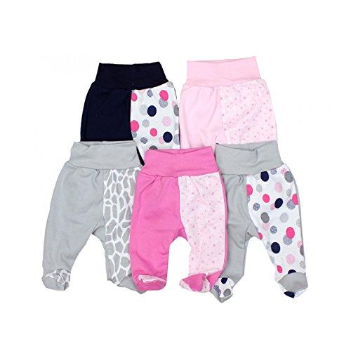 Baby Hose mit Fuß Stramplerhose Jungen 100% Baumwolle Strampelhose Mädchen Schlupfhose im 5er Pack, Farbe: Mädchen 2, Größe: 56