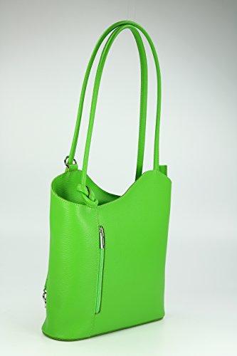BELLI ital. Ledertasche Belli Backpack 2in1 Damen Rucksack Leder Handtasche Schultertasche - Freie Farbwahl - 28x28x8 cm (B x H x T) Grün (apfelgrün)