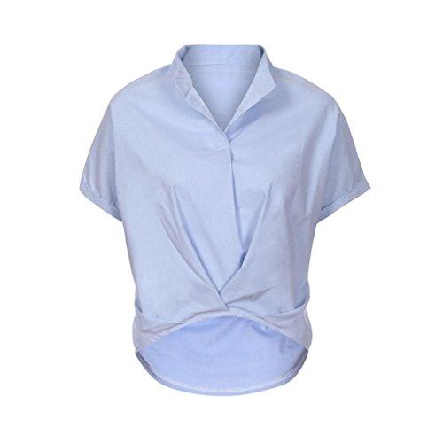 IMJONO Damen Women Casual Plus Größe Solid Zerzauste Locker V-Ausschnitt Kurzarm Bluse