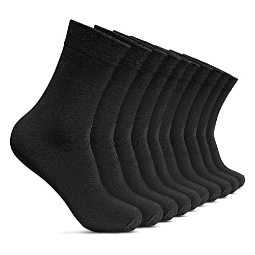 10 Paar Casual-Business und Freizeit Anzug-Socken Herren-Strümpfe lang 10er Pack, Größe Socken:43-46, Set:10 Paar/Schwarz ()