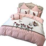 BGAOYUHUA 4 Stück Tröster Set Twin Size, Weihnachtsgeschenk zu Hause, Ultra Soft und Easy Care Bettbezug Sets, Floral Jacquard Bettwäsche,Pink_King 220 * 240cm
