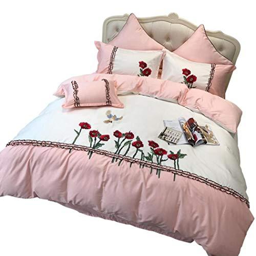 Floral 4 Stück Jacquard Tröster (HSBAIS 4 Stück Tröster Set Twin Size, Hause, Ultra Soft und Easy Care Bettbezug Sets, Floral Jacquard Bettwäsche,pink_Queen 200 * 230cm)