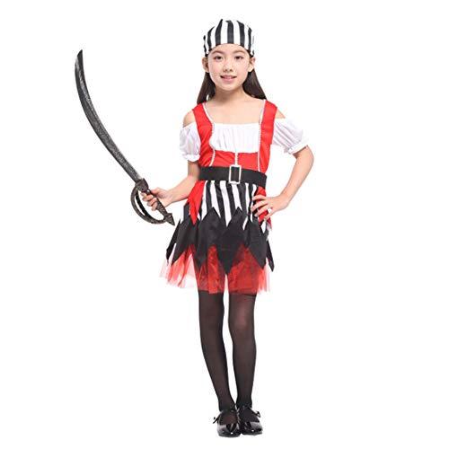 Neuheit Kreativ Kind Kostüm - Halloween Junge Mädchen Pirat Kinderkostüm, ideal für Karneval, Halloween und Themen Partys usw.(Beinhaltet Nicht: Waffe),Height:110~120CM (Piraten Waffen Kit)