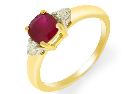 Ivy Gems 9ct Yellow Gold Ruby and Diamond Square Cut Solitaire Ring