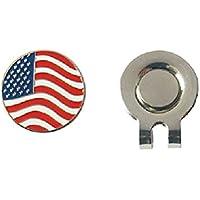 WINOMO 2 Unidades de Aleación Ligera Magnética Marcadores de Pelota de Golf Sombrero Clip EE. UU. Bandera Patrón Magnético Accesorios de Golf
