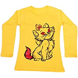 Indiweaves Girls Cotton Full Sleeves Printed T-Shirt_Yellow_Size: 9-10 Year