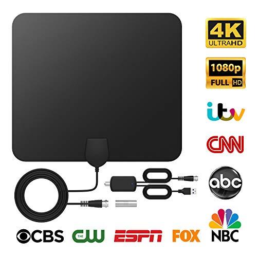 DVB-T2 Antenne Innen, DVB-T2 Receiver mit Antenne, Tragbare Digitale TV Antenne mit Intelligentem Signalverstärker, Unterstützt 4K 1080 HD/VHF/UHF, für Alle TV-Typen Geeignet, TICTID.