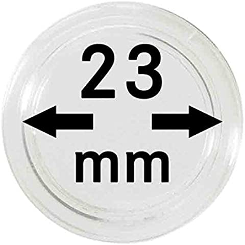 Capsulas para monedas 23 mm (10 piezas) [Lindner 2250023], con superficie extremedamente resistente contra arañazos - Diámetro interior: 23 mm