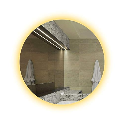 Miroirs Rond Lavabo Rond (Color : Silver, Size : 80 * 80 * 3cm)