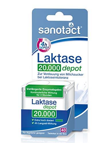sanotact Laktase 20.000 FCC Depot Tabletten - 40 Stk. / Nahrungsergänzung mit Laktase / Verdauung von Milchzucker bei Laktoseintoleranz / Tabletten-Box