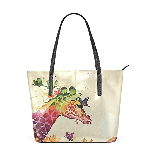 Waterfolor Giraffe Butterfly Floral Portemonnaie PU Leder Schulter Tote-Tasche für Damen Mädchen Damen -